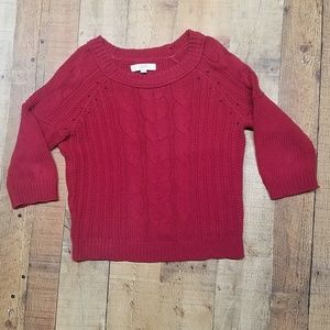 Ann Taylor LOFT Red Cable Knit Sweater Size M